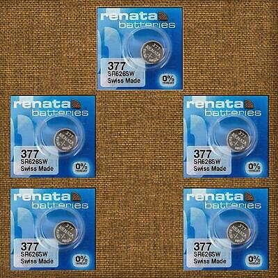 5 x Renata Watch Battery 377 Mercury Free 1.55V SR626SW Silver Oxide Batteries