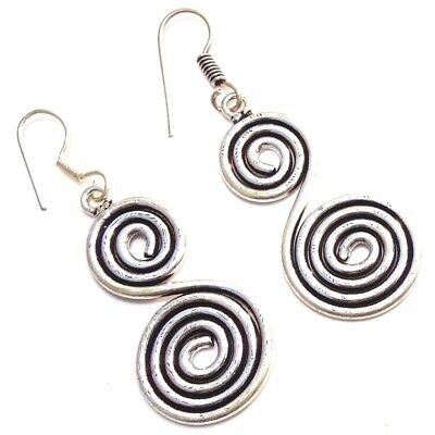 "925 SILVER PLATED HANDMADE DESIGNER DROP DANGLE EARRINGS 2.25 "" Inches"