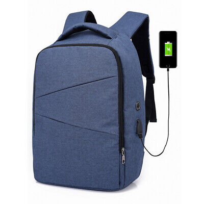 Men Backpack Anti-theft USB Charger Port Travel Oxford Casual Rucksack Schoolbag