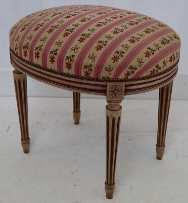 Two Antique French Louis XVI Upholstered Stools
