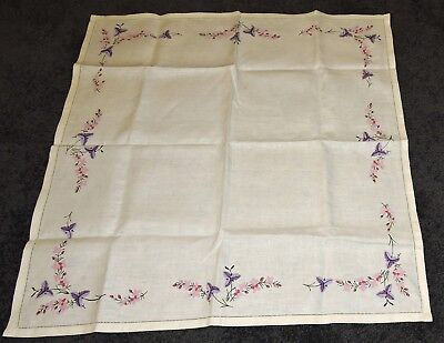 """Tablecloth Ecru Hand Painted Pure Linen To Embroider Pink Purple Flower Edge 35"""""""
