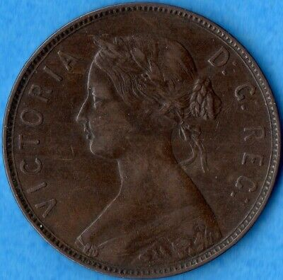 Canada Newfoundland 1880 Round '0' 1 Cent One Large Cent Coin - Very Fine
