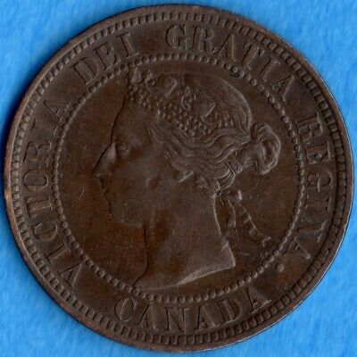 Canada 1891 LD LL 1 Cent One Large Cent Coin - Very Fine+