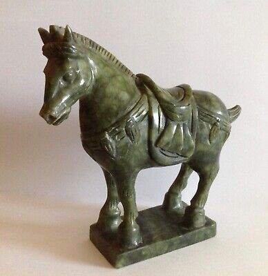 Antique Chinese Green Jade Nephrite Carved Horse-Nice!!!