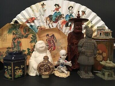 Bulk Lot Of Oriental Themed Items Chinese Asian Figurines Ornaments Snuff Bottle