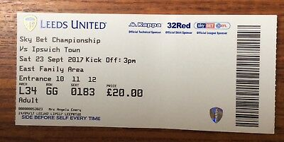 Leeds United v Ipswich Town FLC ticket 23/9/17 (2017/2018)