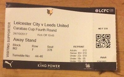 Leicester City v Leeds United Carabao Cup Ticket 24/10/17 (2017-2018)