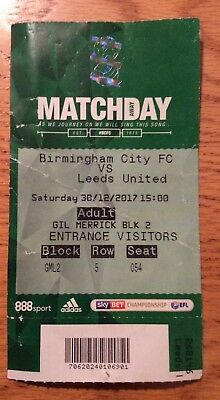 Birmingham City v Leeds United Ticket Sky Bet Championship 30/12/17 (2017-2018)