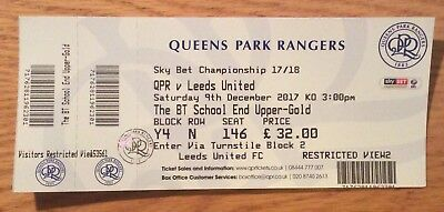 QPR v Leeds United Sky Bet Championship Ticket 9/12/17 (2017-2018)