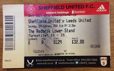 Sheffield United v Leeds United Ticket Sky Bet Championship 10/2/18 (2017-2018)