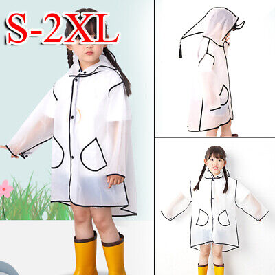 Girls Rain Coat Boys Covered Transparent EVA Raincoat Waterproof Rainwear Poncho