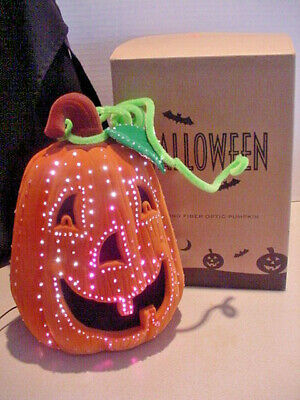 2002 Avon Glowing Fiber Optic Pumpkin Jack O Lantern Halloween