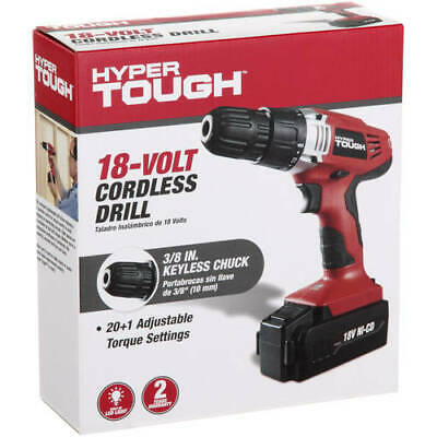 Cordless Drill Hyper Tough 18-Volt Ni-Cad with Battery and Charger Rechargeable