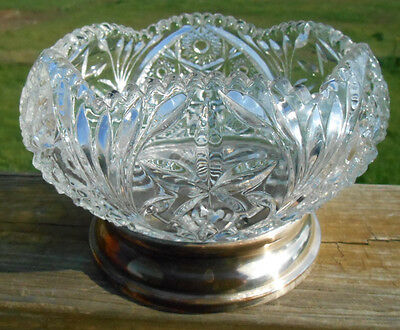 Hobstar Crystal Glass Bowl attached Silverplate Base Pressed Glass