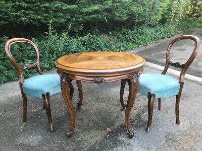 victorian mahogany & walnut round  table french style with 2 balloon back chairs