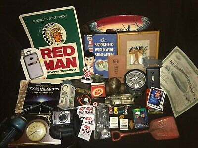 Junk Drawer Lot Stamps Art Seth Thomas Clock Red Man Sign Coin Bank Reel Big Boy