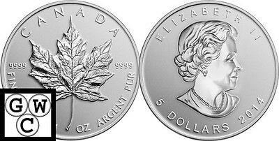2014'Silver Maple Leaf Bullion' $5 Pure Silver Coin 1oz .9999Fine(13825)