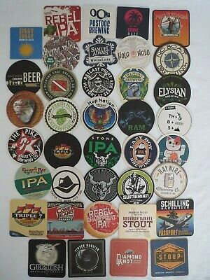 Wholesale Lot Of 37 New Craft Brewery Brew Pub Craft Beer Tap House Coasters