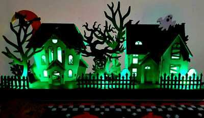 "Witch Crafters 15"" lighted Halloween village WOW DEAL vintage 3D wood die cut"