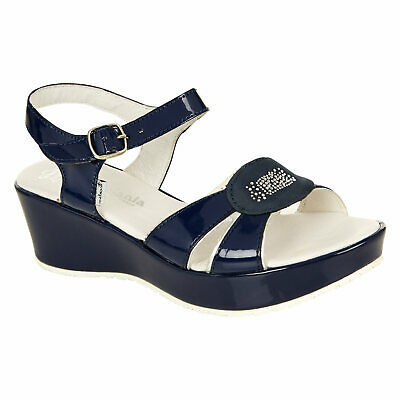 Melania. Made in Italy. Girl`s leather navy wedge shoes sandals size:UK4 size37