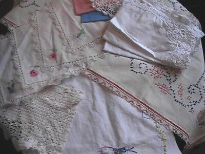 Vintage Table Runner Doilies & Napkins Lot of 13 Linen and Cotton