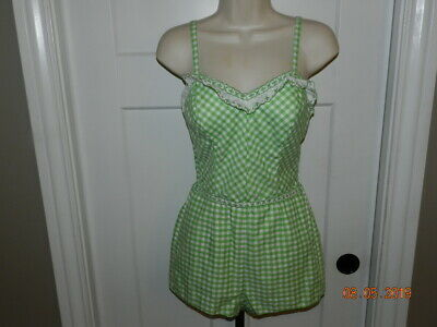 Vintage Vibrant Green white 50's 60's Jantzen Sz 12 Bathing Suit Pinup Girl Sexy