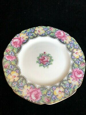 "Paragon ""Gingham Rose"" Pattern HM Queen Mary Bread & Butter Plate 6 3/4"""
