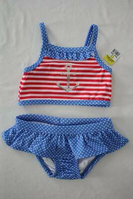 NEW Baby Girls Tankini Set Swimsuit 12 Months Red White Blue Two Piece