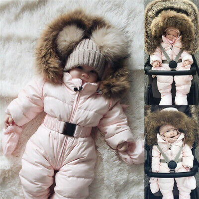 Toddler Baby Boy Girls Winter Romper Jacket Hooded Jumpsuit Thick Coat Outfit