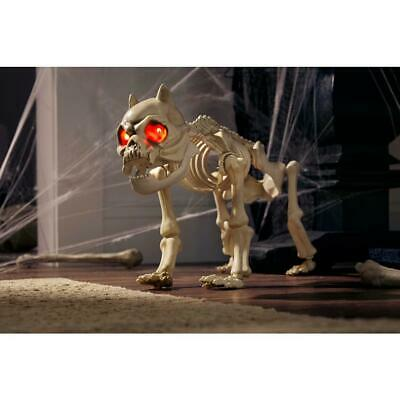 Halloween Animated Skeleton Dog Lighted Eyes Haunted House Decor Prop 19 Inch
