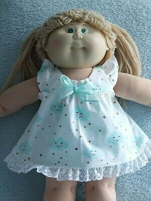 """16"""" CABBAGE PATCH Dolls Clothes / DRESS~BLOOMERS / mint clouds on white"""