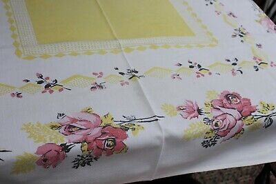 Vintage Cotton Kitchen Tablecloth 52x62 Pink & Yellow Flowers