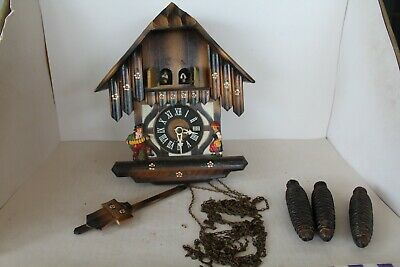 Partial working German DOUBLE DOOR Chalet CUCKOO CLOCK Black Forest GERMANY