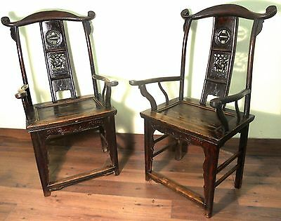 Antique Chinese High Back Chairs (Pair) (5936), Circa 1800-1849
