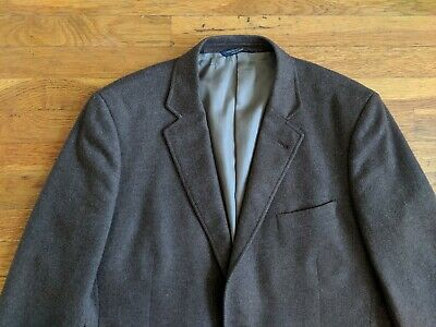 BROOKS BROTHERS 43R Brown Madison Yorkshire MOON TWEED Cashmere Wool Sport Coat