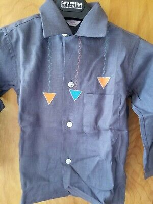 Vintage 1950s Boy's Rayon Shirt Futuristic Orange Turquoise Triangles BVD NIB 6