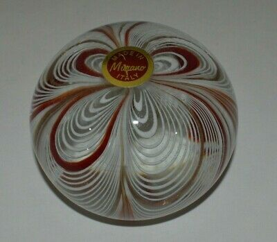VTG Red & White Peppermint Swirl Art Glass Paperweight  Murano Italy W/ Label