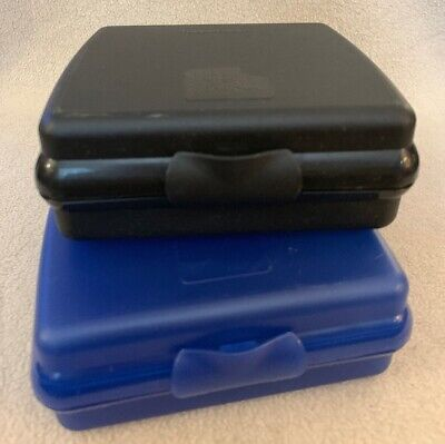 Pair of Tupperware Hinged Sandwich Keepers #3752 Lunch Bagels Wraps Black ~ Blue