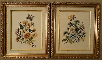2 Vintage Frame Linen Liner Needlepoint Embroidery Flowers Floral  Pictures Art