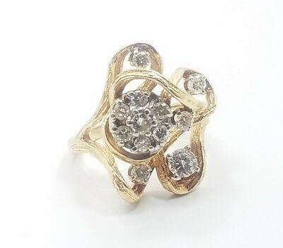 Beautiful Vintage Brutalist Multi Diamond 14k Yellow Gold Ladies Ring Size 7.75