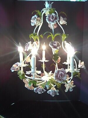 CHANDELIER 5-ARM Italian Tole Pink Roses Vintage   - Shabby Chic - Cottage Chic