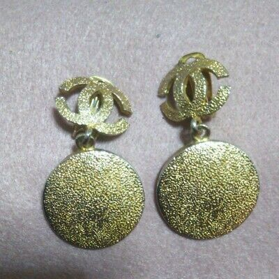 Chanel CC COCO mark Round shape Gold tone Earrings Used With tracking mfa158