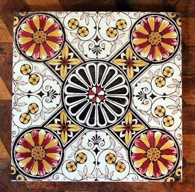ANTIQUE Old Victorian Aesthetic Floral Red Ollivant Tint & Print Flower Tile 5/5