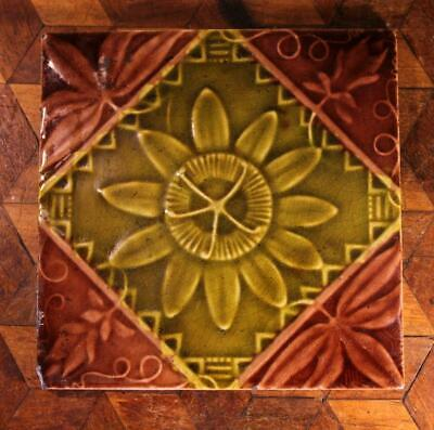 ANTIQUE Old Victorian Aesthetic T.A Simpson Green Majolica Passion Flower Tile B