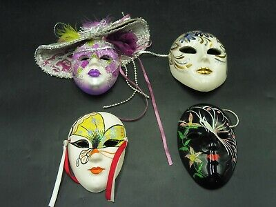 Stunning 4 Hand Painted Ceramic Mardi Gras Masquerade Lady Style Face Wall Masks