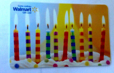 Walmart Birthday Candles Mint Gift Card Canada Bilingual No Value!