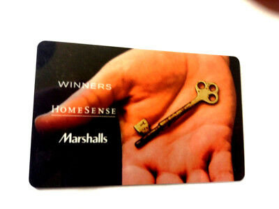 Winners Marshalls KEY GIFT CARD FROM CANADA BILINGUAL NO VALUE RECHARGEABLE !