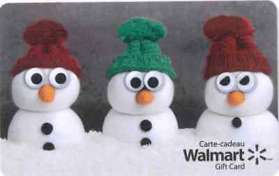 Walmart Canada 2017 Christmas Snowmen new collectible Gift Cards No Value