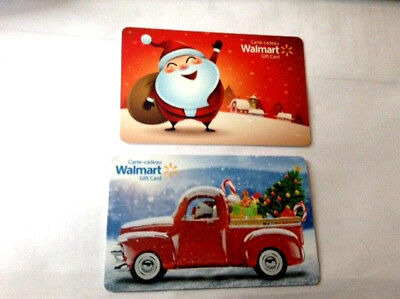 Walmart Canada 2018 Christmas Santa & Truck X2 collectible Gift Cards No Value