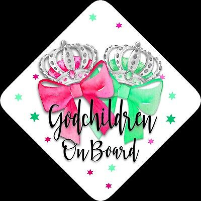 Godchildren on Board,Child Baby On Board Car sign Bows ~Non Personalised 1394